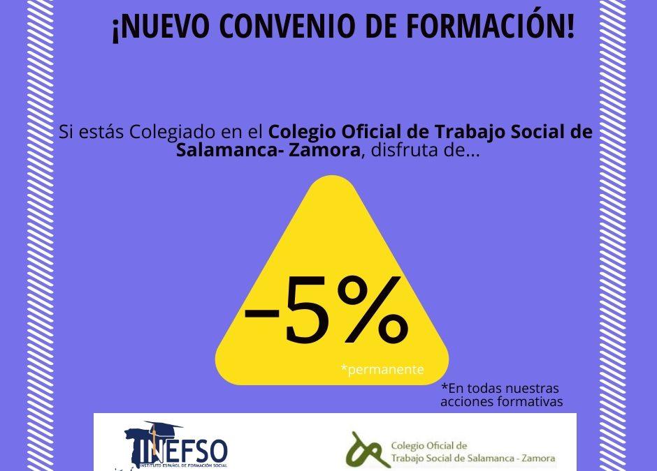 Los colegiados/as del Colegio Oficial de Trabajo Social de Salamanca-Zamora ya pueden beneficiarse de un descuento en todas las acciones formativas de INEFSO.