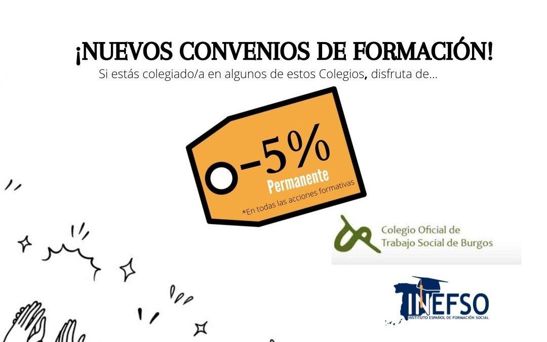 INEFSO y el Colegio Oficial de Trabajo Social de Burgos firman un convenio de colaboración, que se suma a los 15 colegios profesionales con los que mantenemos acuerdos de formación.